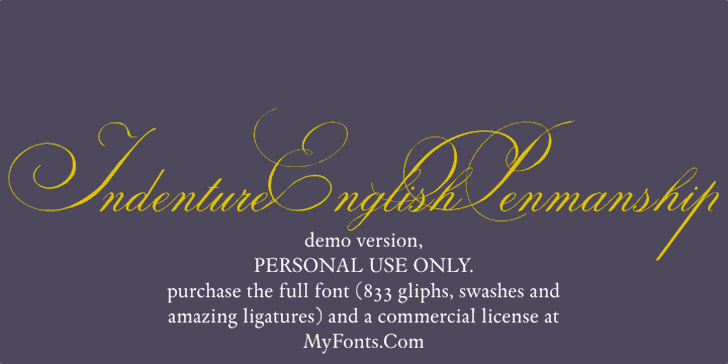 Indenture English Penman Demo Font text design