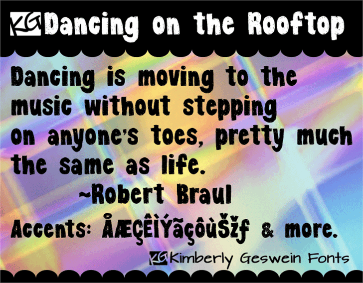 KG Dancing on the Rooftop Font screenshot text