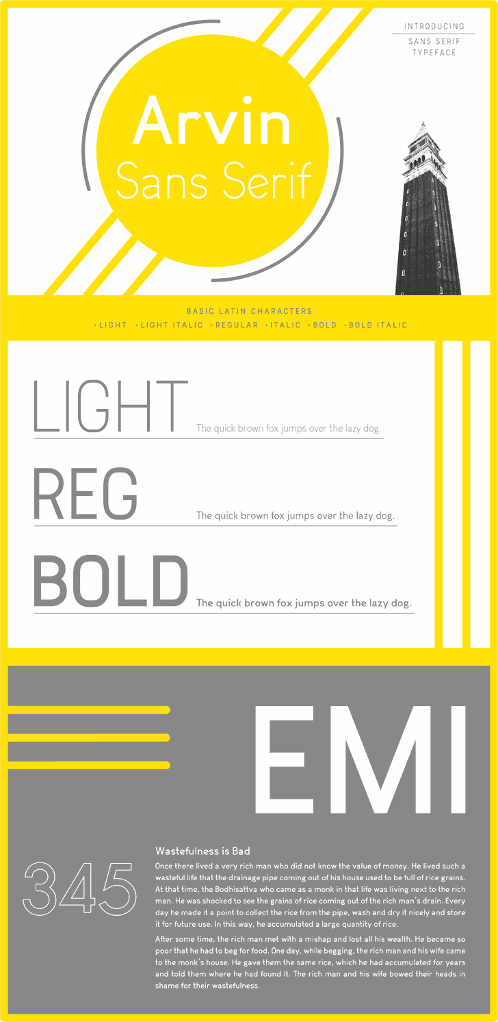 Arvin Light Font abstract text