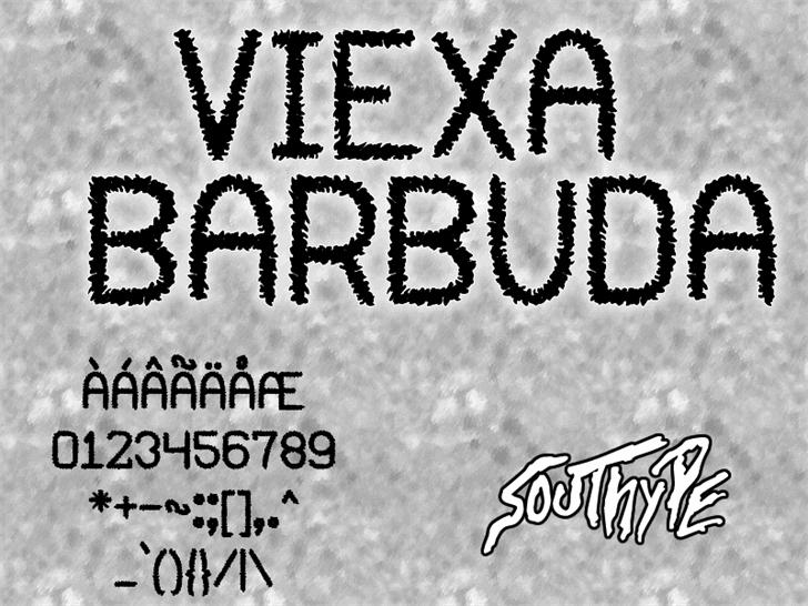 Viexa Barbuda St Font text black-and-white
