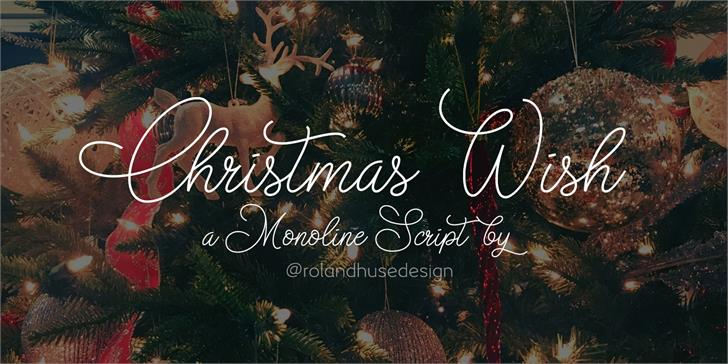 Christmas Wish monoline Font design text