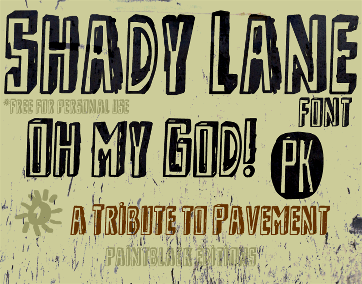 Shady Lane Font text poster