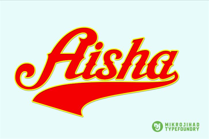 Aisha Script Font design graphic