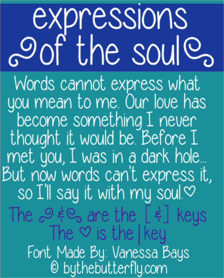 expressions of the soul font by ByTheButterfly
