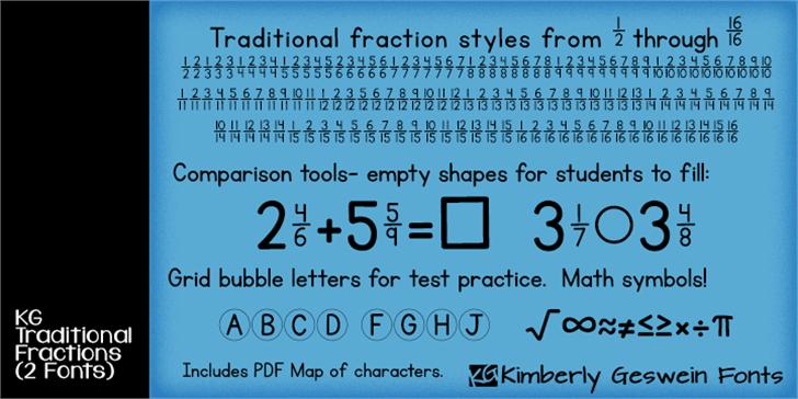 KG Traditional Fractions Font screenshot font