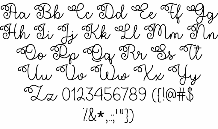 Flower Shop Regular Font Letters Charmap