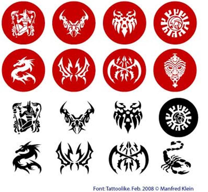 Tattoolike Font design cartoon