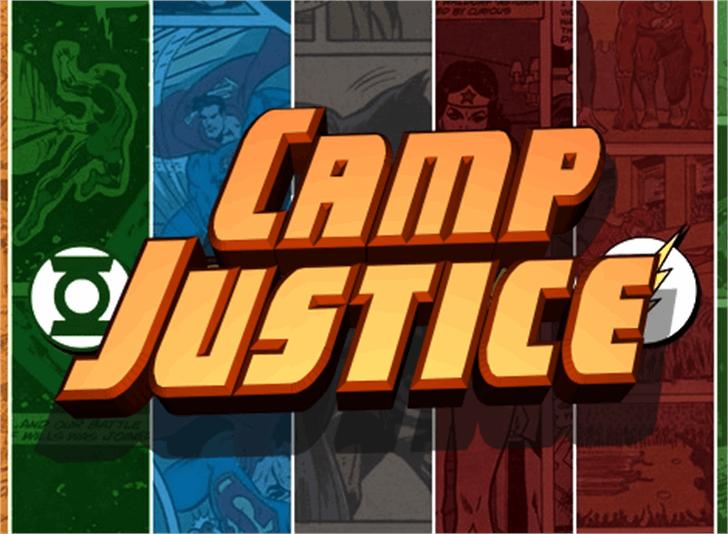 Camp Justice Font poster cartoon