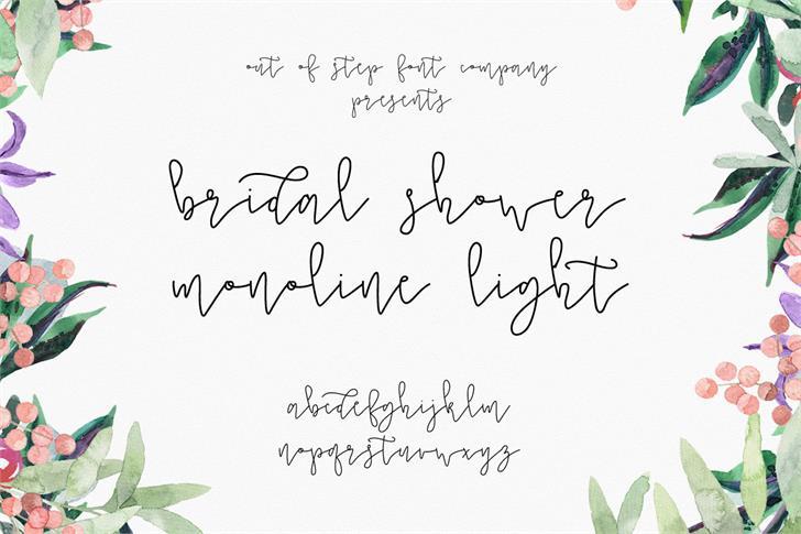Bridal Shower Monoline Script Light Font