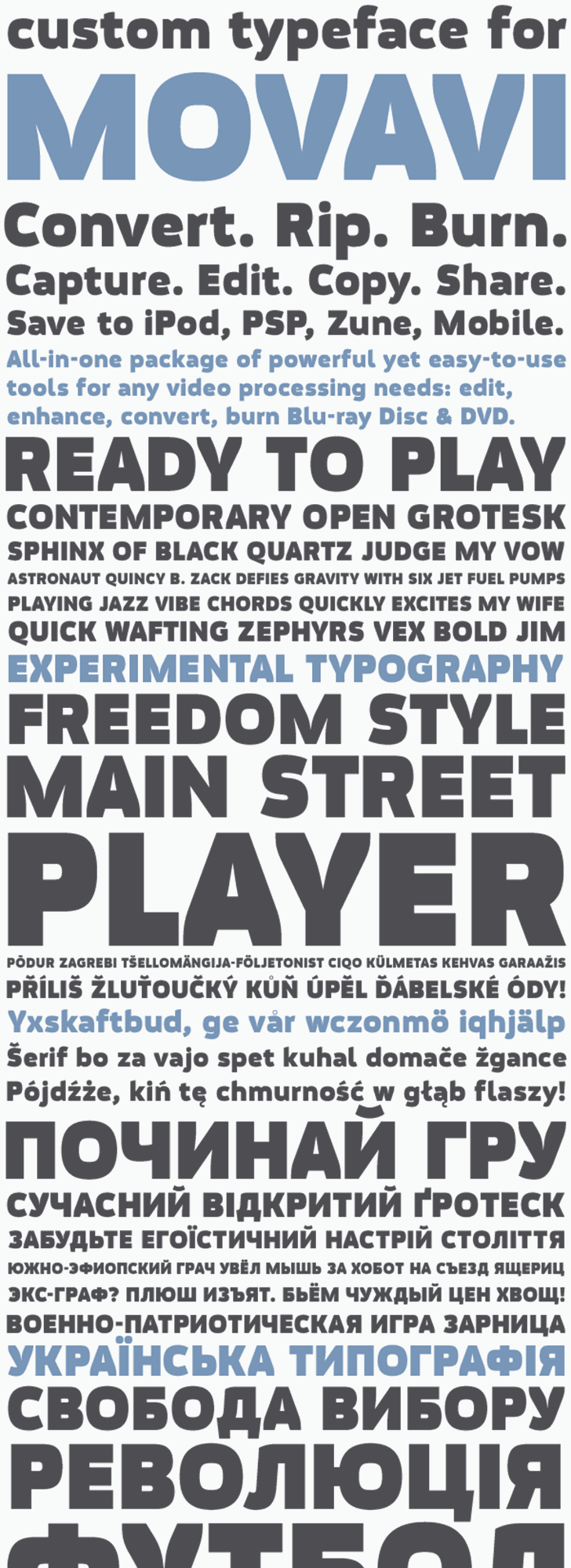 Movavi Grotesque Black font by 4th february