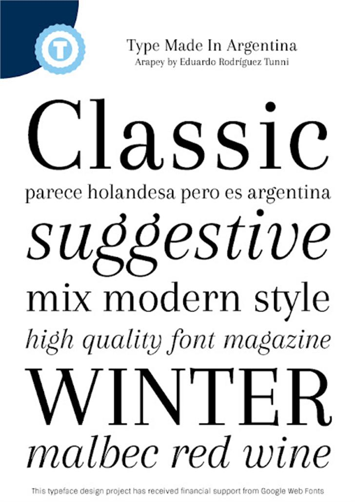 Arapey Font screenshot typography