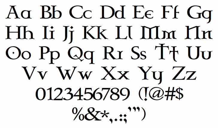 Celtic Garamond the 2nd Font Letters Charmap