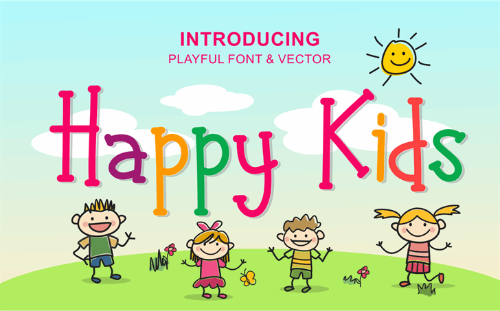 Happy Kids Font cartoon graphic