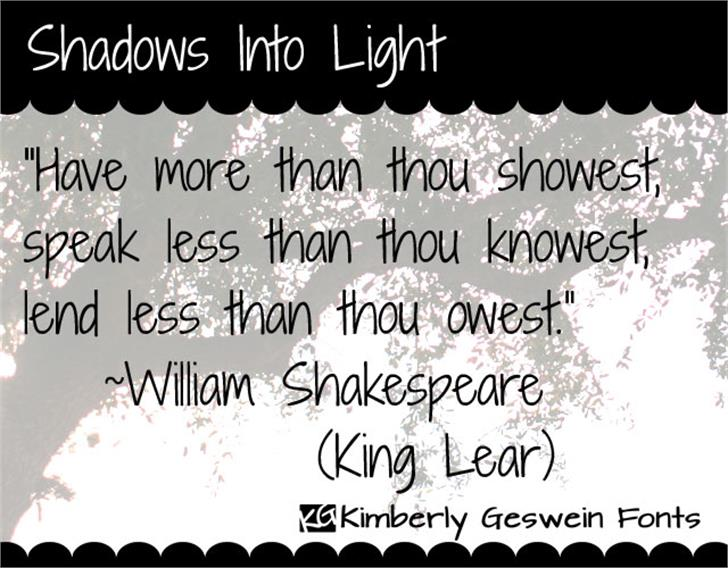 Shadows Into Light Font text handwriting