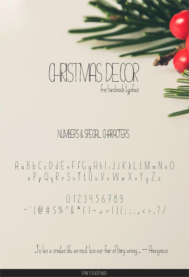 Christmas Decor Font handwriting text