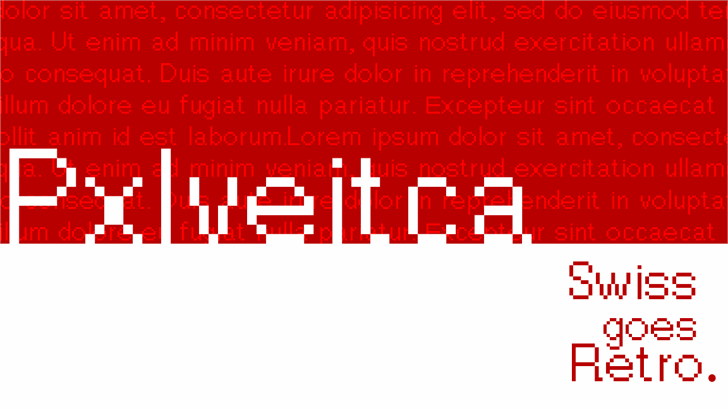 Pxlvetica Font design screenshot