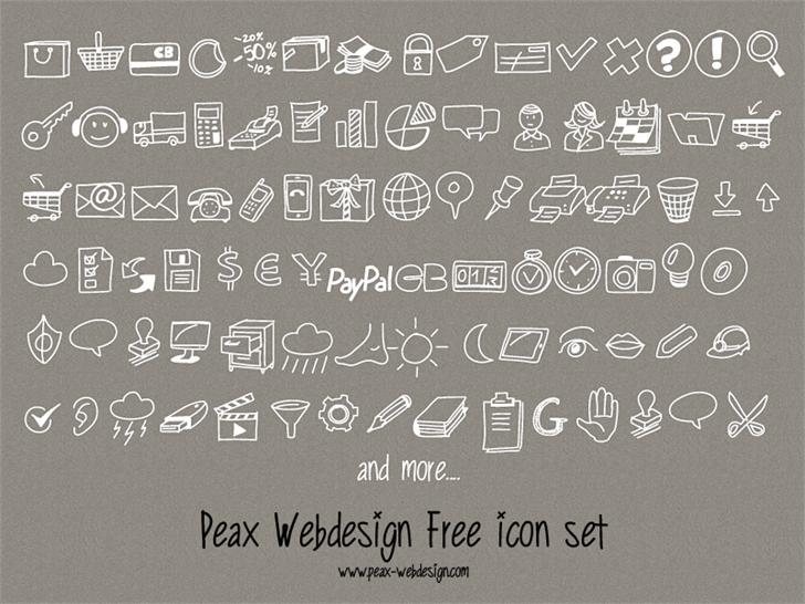 PeaxDrawnIcons Font text handwriting