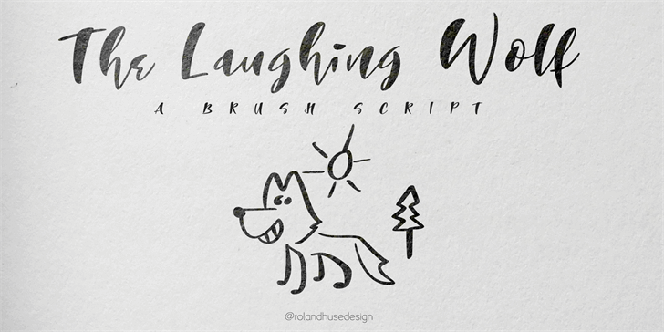 The Laughing Wolf. Font handwriting drawing
