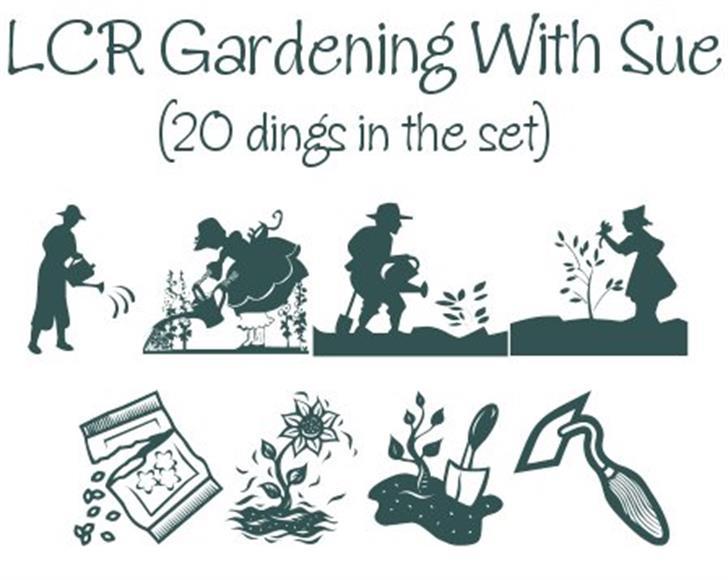 Gardening With Sue Font cartoon illustration