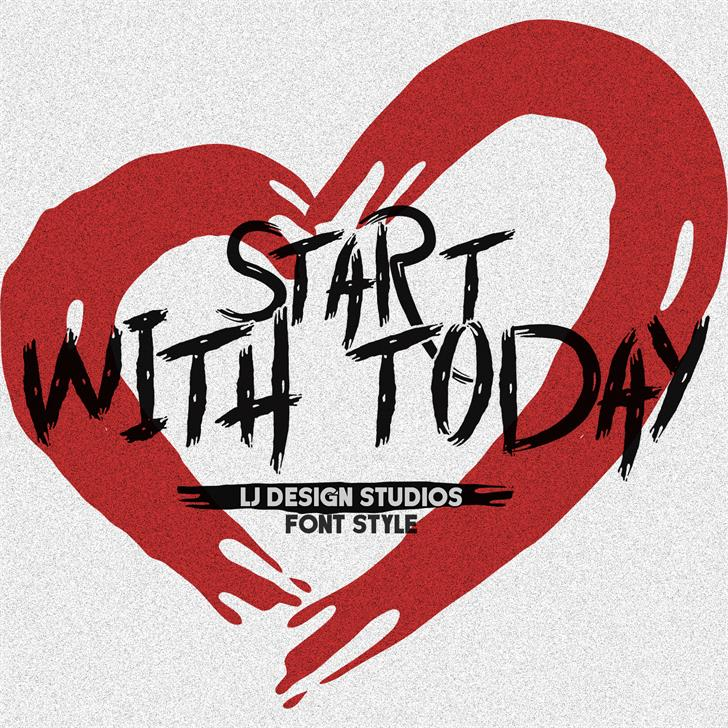 Start with Today Font design illustration