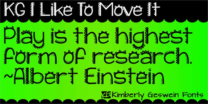 KG I Like To Move It Font illustration font