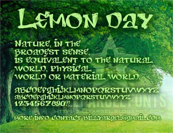 LEMON DAY Font screenshot text