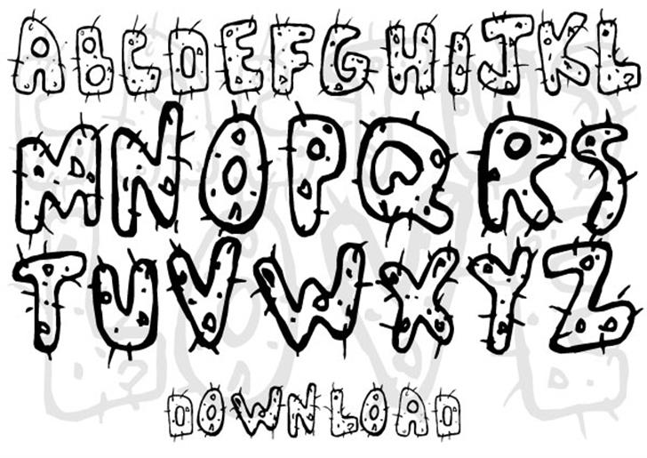 Cactus Love Font drawing cartoon