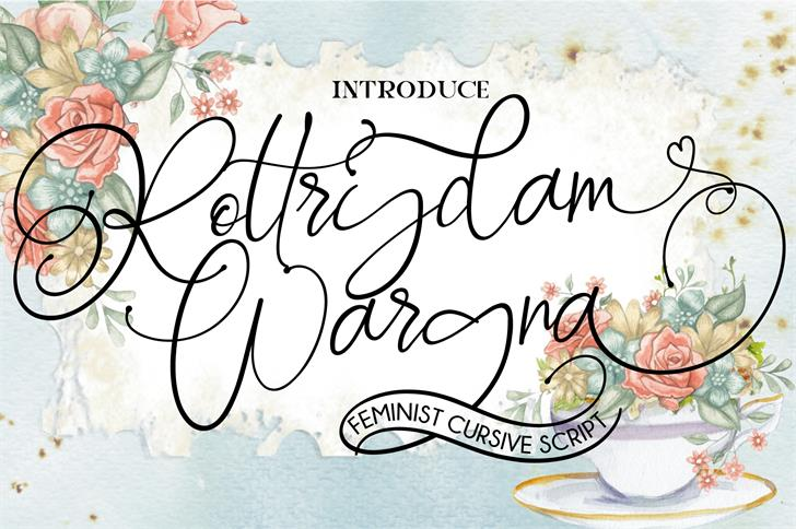 Rottrydam Wargna Personal Use Font drawing handwriting