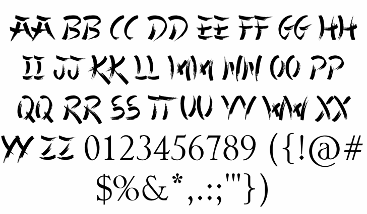 Chinese Takeaway Font Letters Charmap