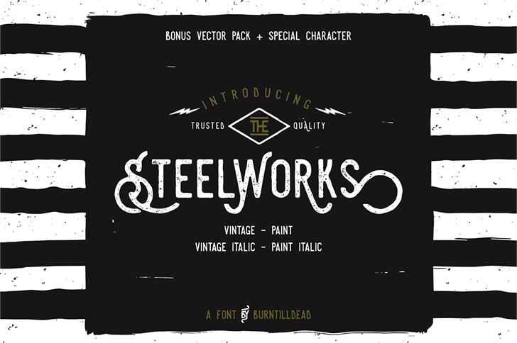 Steelworks Vintage Demo Font design screenshot