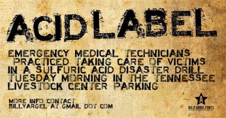 ACID LABEL___ font by Billy Argel