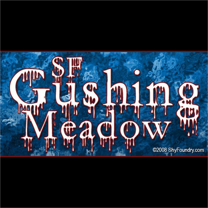 SF Gushing Meadow Font screenshot design