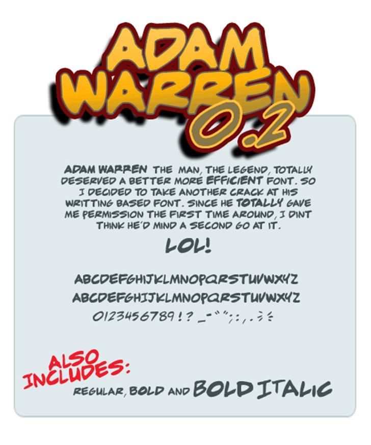 adam warren font by Press Gang Studios