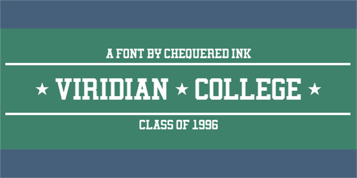 Viridian College Font design graphic