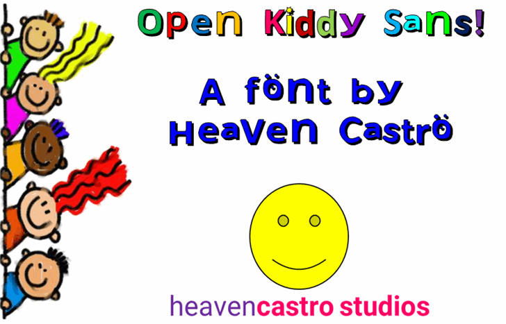 Open Kiddy Sans Font cartoon design