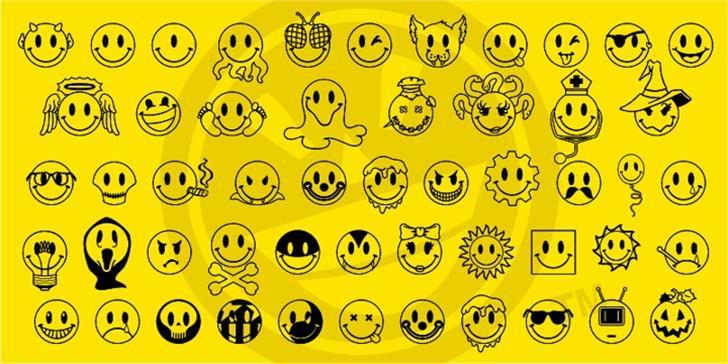 JLS Smiles Sampler Font illustration cartoon