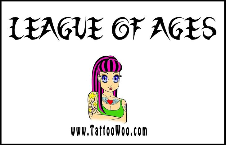 League of Ages Font cartoon drawing