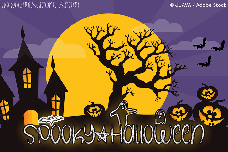Spooky Halloween Font cartoon illustration