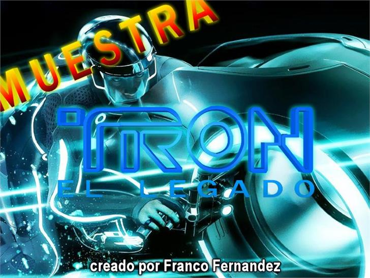TRON muestre CINE1 Font screenshot auto part