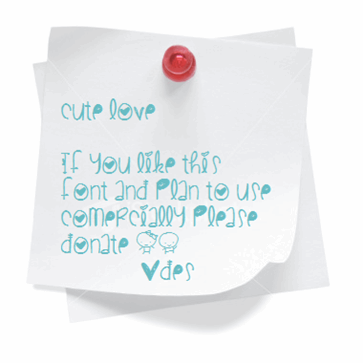 CuteLove Font handwriting design