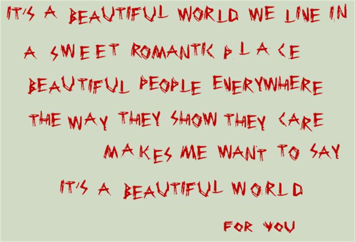 BeautifulWorldNBP Font handwriting screenshot