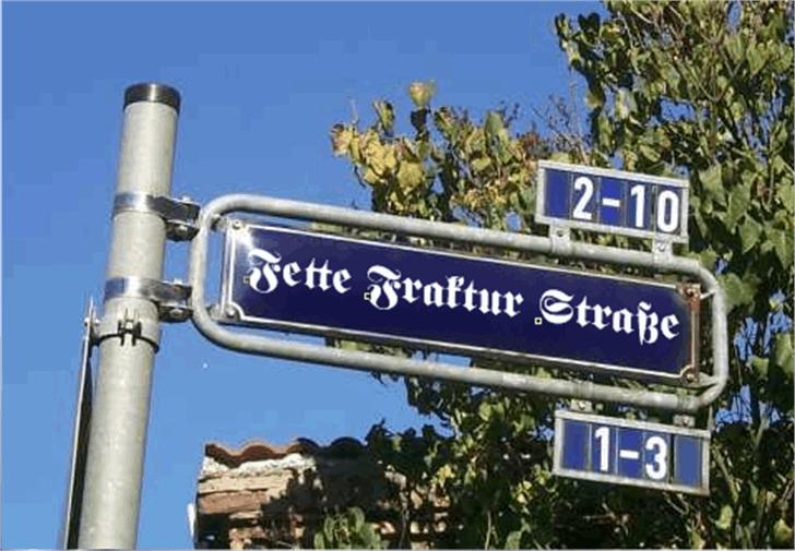 Fette UNZ Fraktur Font tree sign