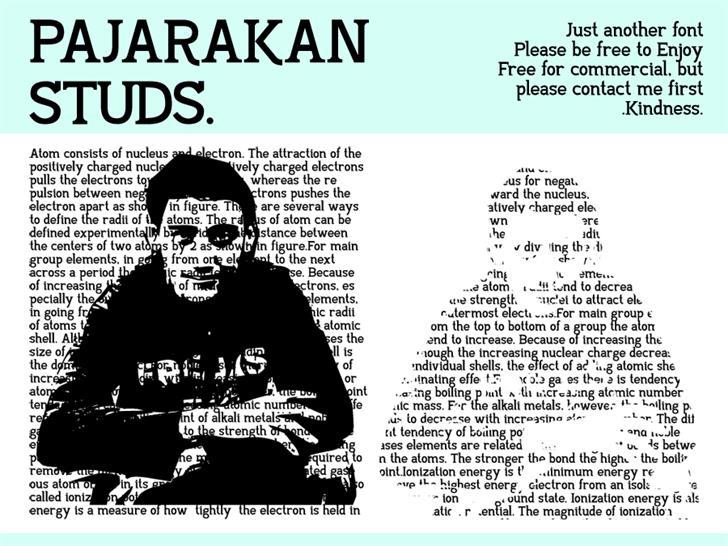 Pajarakan Studs Font text book