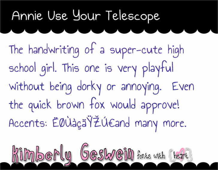 Annie Use Your Telescope Font handwriting text
