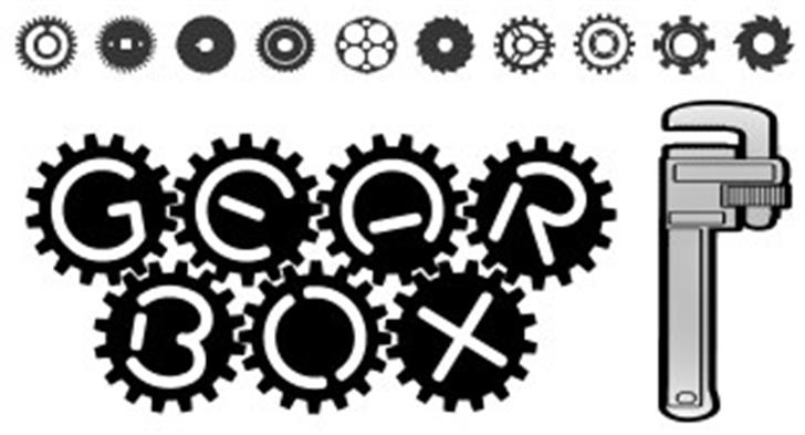 GearBox Font design drawing