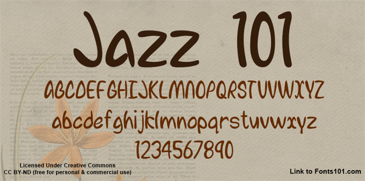 Jazz 101 Font handwriting text