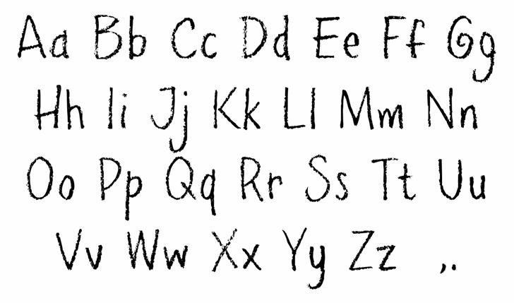 PencilPeteFONT Letters Charmap