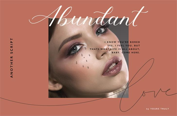 Abundant Script DEMO Font eyes lipstick