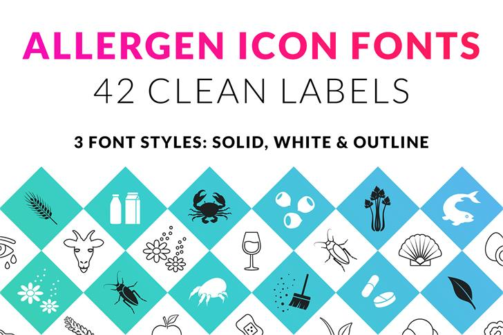 Allergen Outline Font design graphic