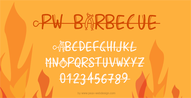 PWBarbecue Font design text